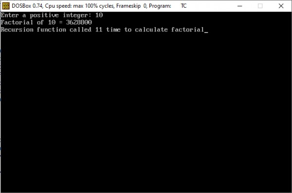 Output of above program showing factorial of a number