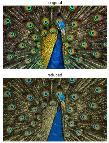 original and reduced image by kmeans